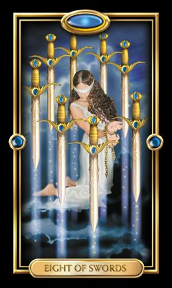 The Eight of Swords from The Gilded Tarot, by kind permission of Ciro Marchetti.